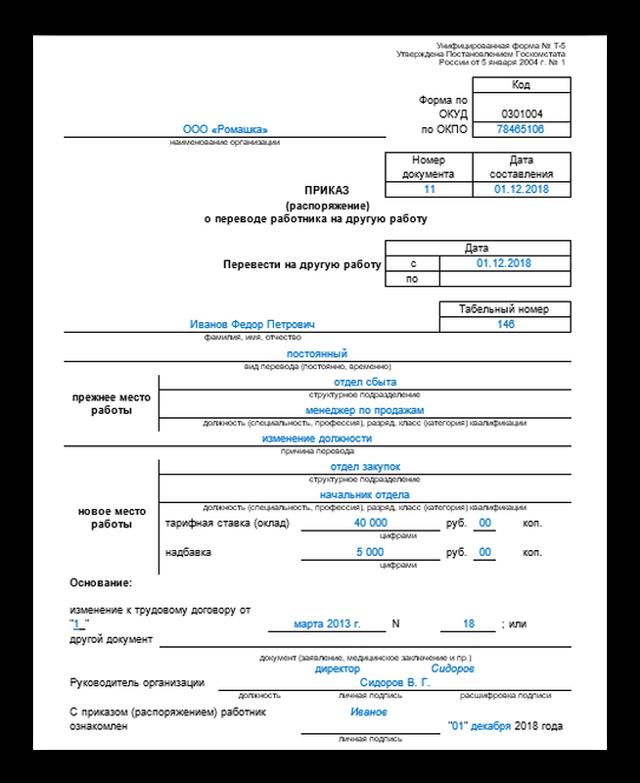 Заявление на перевод на другую должность: виды и порядок оформления